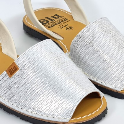 Woman Metallic Engraved Leather Menorcan Sandals 453 White, by C. Ortuño