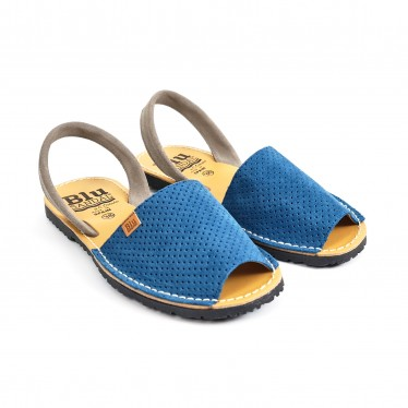 Woman Perfo Suede Menorcan Sandals 456 Navy, by C. Ortuño