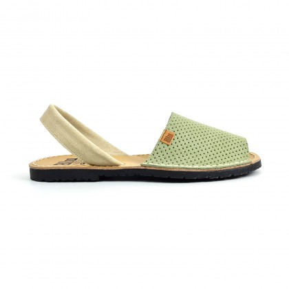Woman Perfo Suede Menorcan Sandals 456 Green, by C. Ortuño