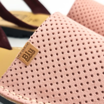 Woman Perfo Suede Menorcan Sandals 456 Pink, by C. Ortuño