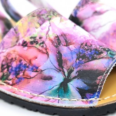Woman Leather Menorcan Sandals Flowers Print 457 Pink, by C. Ortuño