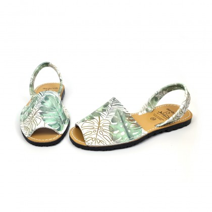 Woman Leather Menorcan Sandals Plants Print 458 Green, by C. Ortuño