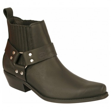 Men Biker Ankle Boots by Johnny Bulls 4709 BLACK