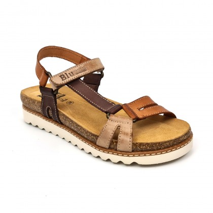 Woman Leather Flat Bio Sandals Velcro Cork Insole 1855 Leather, by Blusandal