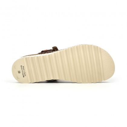 Sandalias Bio Planas Mujer Piel Velcro Plantilla Corcho 1855 Cuero, de Blusandal
