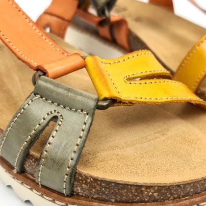Woman Leather Flat Bio Sandals Velcro Cork Insole 1855 Mustard, by Blusandal