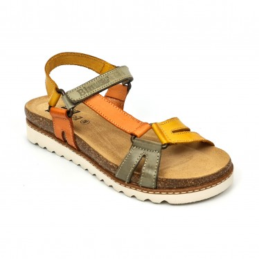 Woman Leather Flat Bio Sandals Velcro Cork Insole 1855 Mustard, by Blusandal