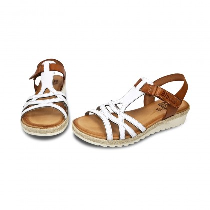 Woman Leather Low Wedged Sandals Velcro Padded Insole 2896 White, by Blusandal
