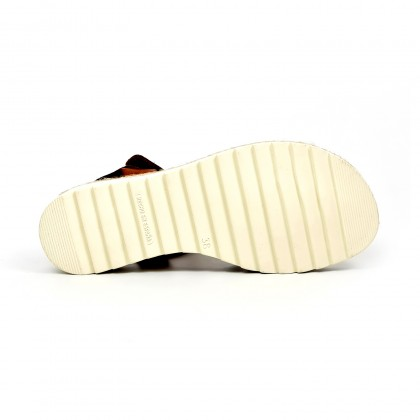 Sandalias Cuña Baja Mujer Piel Velcro Plantilla Acolchada 2896 Blanco, de Blusandal
