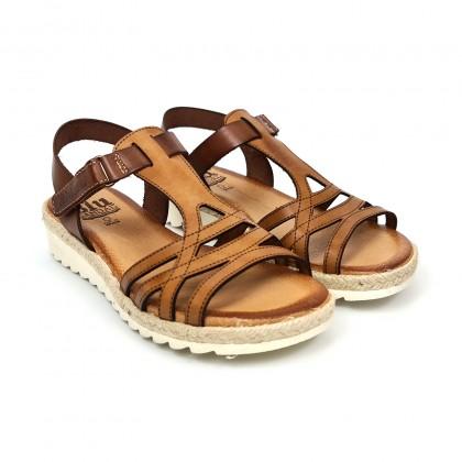 Sandalias Cuña Baja Mujer Piel Velcro Plantilla Acolchada 2896 Cuero, de Blusandal
