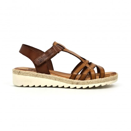 Woman Leather Low Wedged Sandals Velcro Padded Insole 2896 Leather, by Blusandal