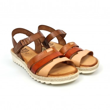 Woman Leather Low Wedged Sandals Velcro Padded Insole 2898 Multileather, by Blusandal
