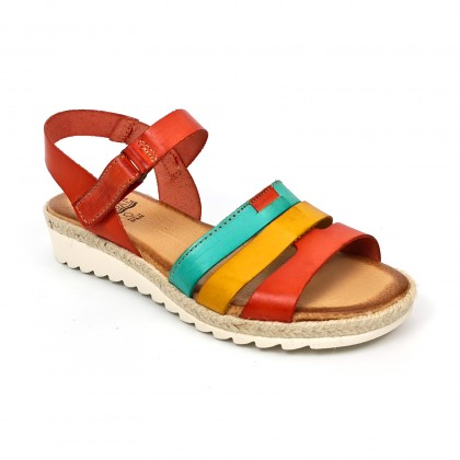 Woman Leather Low Wedged Sandals Velcro Padded Insole 2898 Multilcolor, by Blusandal