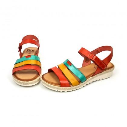 Sandalias Cuña Baja Mujer Piel Velcro Plantilla Acolchada 2898 Multicolor, de Blusandal