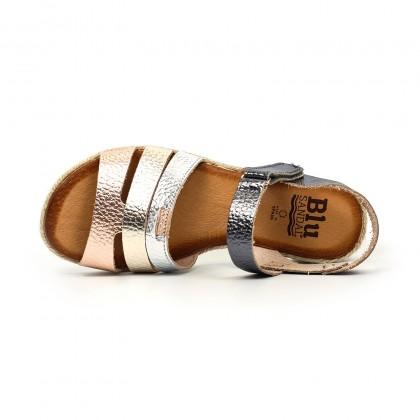 Sandalias Cuña Baja Mujer Piel Velcro Plantilla Acolchada 2898 Multimetal, de Blusandal