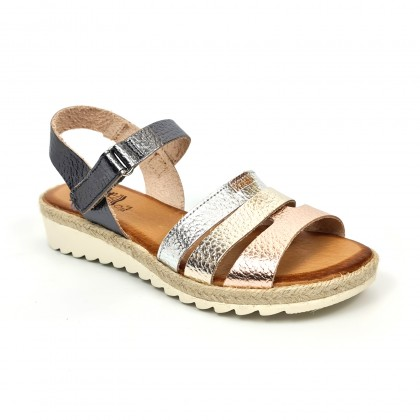 Woman Leather Low Wedged Sandals Velcro Padded Insole 2898 Multilmetal, by Blusandal