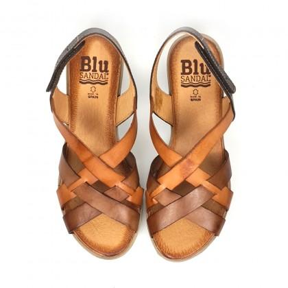 Sandalias Cuña Baja Mujer Piel Velcro Plantilla Acolchada 3104 Cuero, de Blusandal