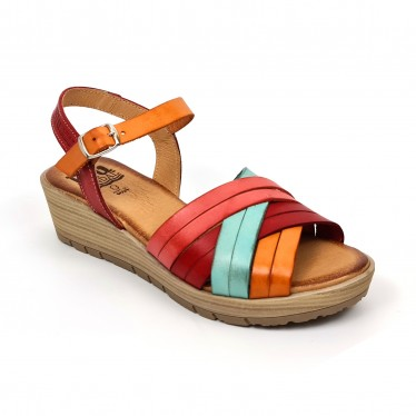 Woman Leather Low Wedged Sandals Padded Insole 3106 Multicolor, by Blusandal