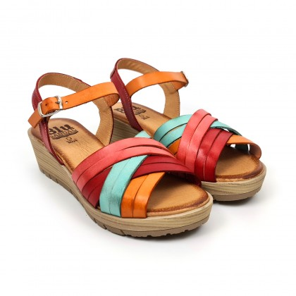 Woman Leather Low Wedged Sandals Padded Insole 3106 Multilcolor, by Blusandal