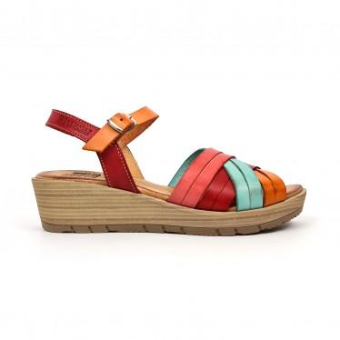 Sandalias Cuña Baja Mujer Piel Plantilla Acolchada 3106 Multicolor, de Blusandal