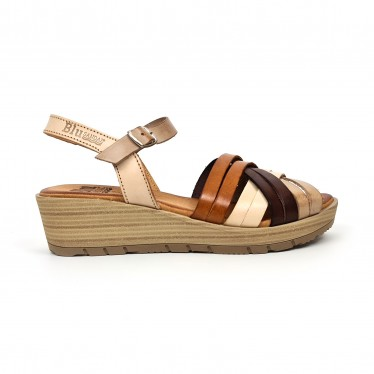 Woman Leather Low Wedged Sandals Padded Insole 3106 Multileather, by Blusandal