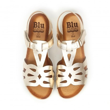 Woman Metallic Leather Low Wedged Sandals Velcro Padded Insole 3205 Platinum, by Blusandal