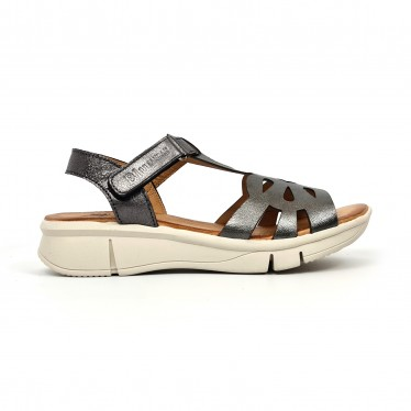 Woman Metallic Leather Low Wedged Sandals Velcro Padded Insole 3205 Lead, by Blusandal
