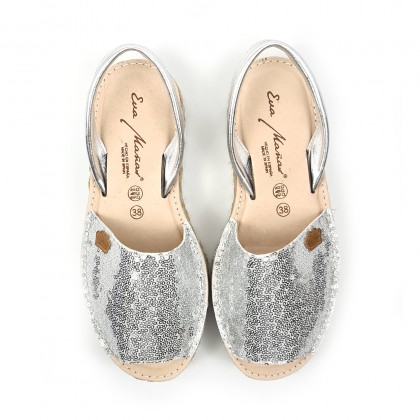 Woman Leather and Sequins Menorcan Sandals Platform Cushioned Insole 1253 Silver, by Eva Mañas