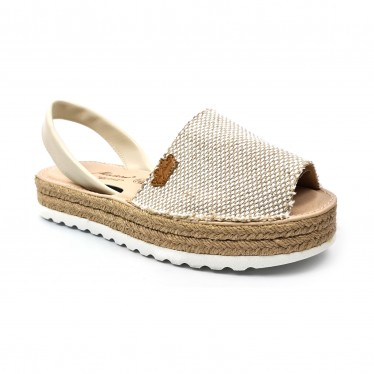 Woman Leather and Sackcloth Menorcan Sandals Platform Padded Insole 1250 Beige, by Eva Mañas