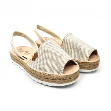 Woman Leather and Sackcloth Menorcan Sandals Platform Cushioned Insole 1250 Beige, by Eva Mañas