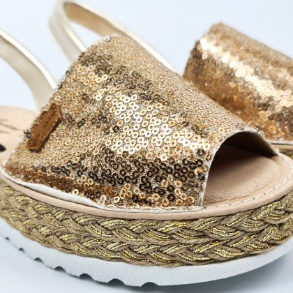 Woman Leather and Sequins Menorcan Sandals Platform Cushioned Insole 1253 Platinum, by Eva Mañas