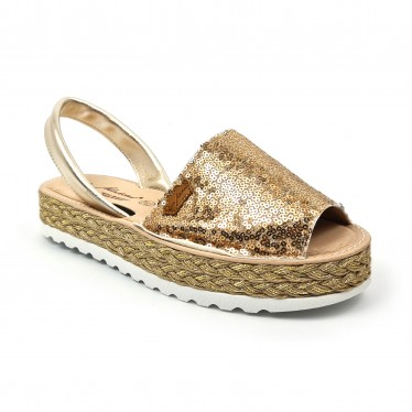Woman Leather and Sequins Menorcan Sandals Platform Padded Insole 1253 Platinum, by Eva Mañas