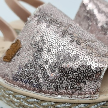 Woman Leather and Sequins Menorcan Sandals Platform Cushioned Insole 1253 Nude, by Eva Mañas