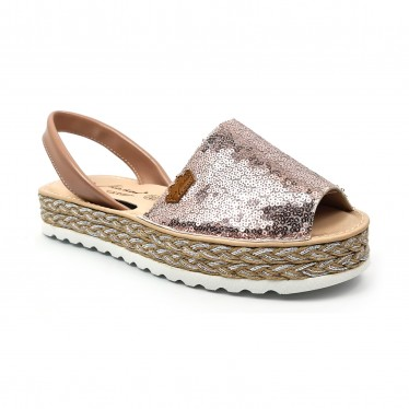 Woman Leather and Sequins Menorcan Sandals Platform Padded Insole 1253 Nude, by Eva Mañas