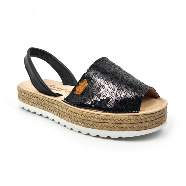 Woman Leather and Sequins Menorcan Sandals Platform Padded Insole 1253 Black, by Eva Mañas