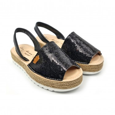 Woman Leather and Sequins Menorcan Sandals Platform Cushioned Insole 1253 Black, by Eva Mañas