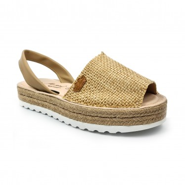 Woman Leather and Sackcloth Menorcan Sandals Platform Padded Insole 1250 Camel, by Eva Mañas