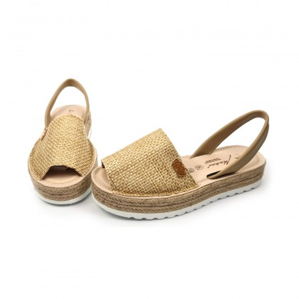 Woman Leather and Sackcloth Menorcan Sandals Platform Cushioned Insole 1250 Camel, by Eva Mañas