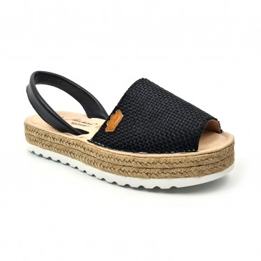 Woman Leather and Sackcloth Menorcan Sandals Platform Padded Insole 1250 Black, by Eva Mañas