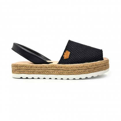 Woman Leather and Sackcloth Menorcan Sandals Platform Cushioned Insole 1250 Black, by Eva Mañas