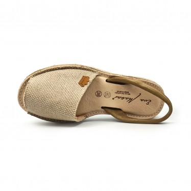 Woman Leather and Sackcloth Menorcan Sandals Platform Cushioned Insole 1250 Taupe, by Eva Mañas