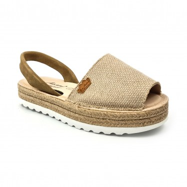 Woman Leather and Sackcloth Menorcan Sandals Platform Padded Insole 1250 Taupe, by Eva Mañas