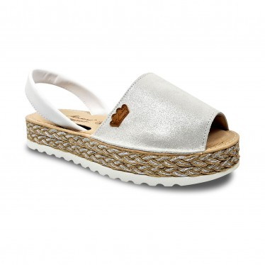 Woman Leather and Glitter Menorcan Sandals Platform Padded Insole 1251 White, by Eva Mañas