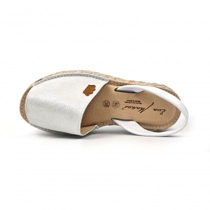 Woman Leather and Glitter Menorcan Sandals Platform Cushioned Insole 1251 White, by Eva Mañas