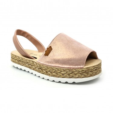 Woman Leather and Glitter Menorcan Sandals Platform Padded Insole 1251 Nude, by Eva Mañas