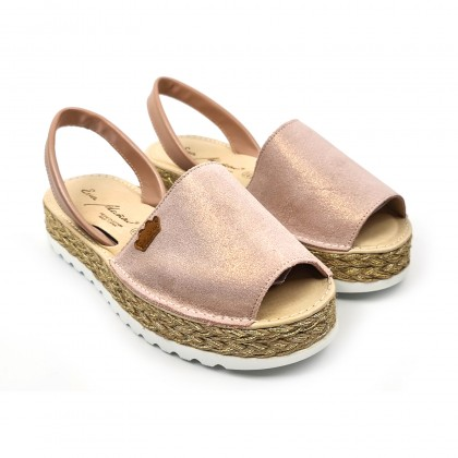 Woman Leather and Glitter Menorcan Sandals Platform Cushioned Insole 1251 Nude, by Eva Mañas