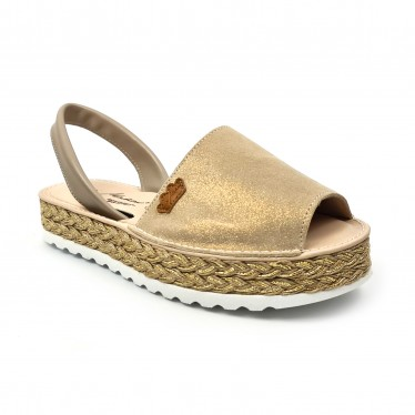 Woman Leather and Glitter Menorcan Sandals Platform Padded Insole 1251 Taupe, by Eva Mañas