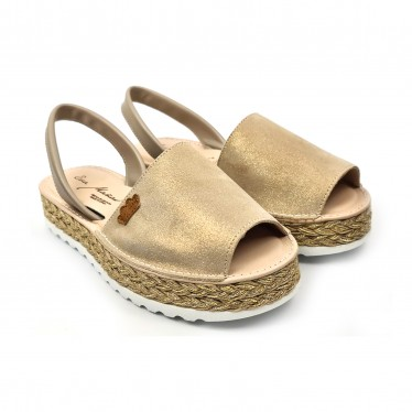Woman Leather and Glitter Menorcan Sandals Platform Cushioned Insole 1251 Taupe, by Eva Mañas