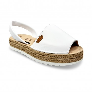 Woman Leather Menorcan Sandals Platform Padded Insole 1252 White, by Eva Mañas