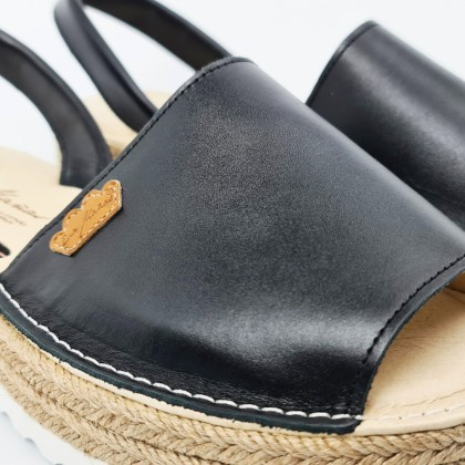 Woman Leather Menorcan Sandals Platform Cushioned Insole 1252 Black, by Eva Mañas